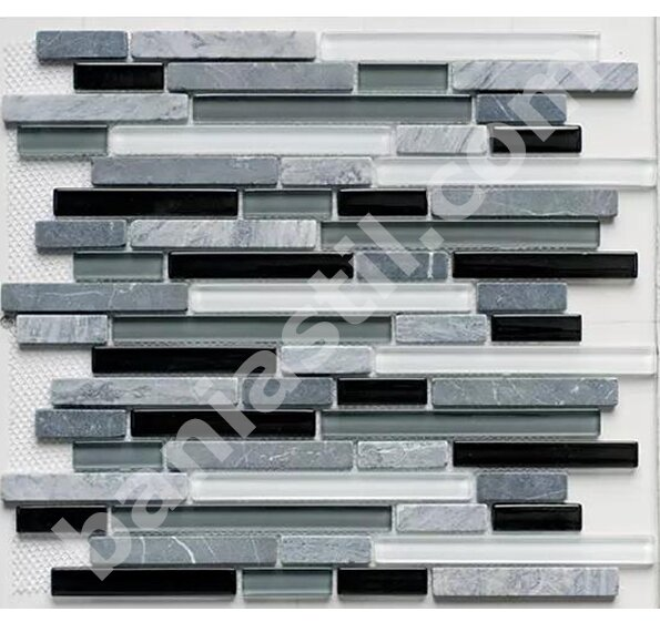 Мозайка Glass & Stone Mix Strip Black - YURTBAY SERAMIK