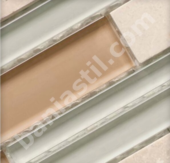 Мозайка Glass & Stone Mix Strip Cream - YURTBAY SERAMIK